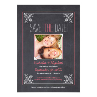 Vintage Chalkboard Save the Date (pink) Announcements