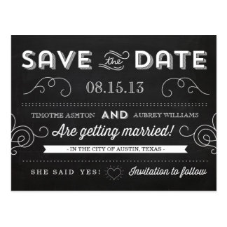 Vintage Chalkboard Save the Date Postcard