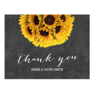 Vintage Chalkboard Sunflower Ball Thank You Post Card