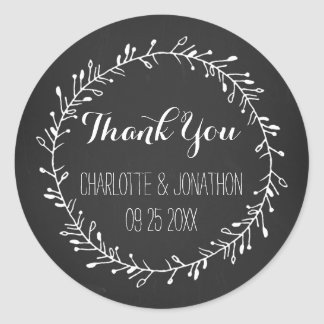 Vintage Chalkboard Thank You Wedding Favor Tags Round Sticker