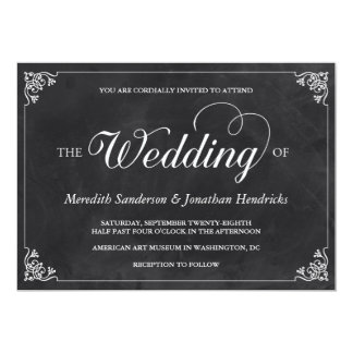 Vintage Chalkboard Wedding Personalized Announcements