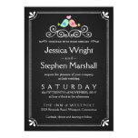 Vintage Chalkboard Wedding Love Birds Invite