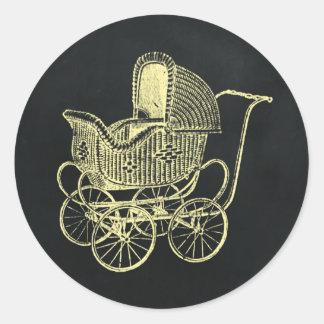 Vintage Chalkboard Yello Baby Carriage Baby Shower Round Sticker
