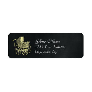 Vintage Chalkboard Yellow Baby Carriage Shower Return Address Label