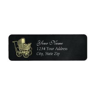 Vintage Chalkboard Yellow Baby Carriage Shower Return Address Label
