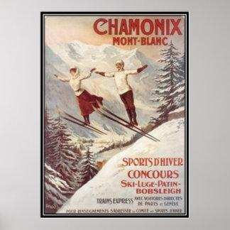 Vintage Chamonix Mont-Blanc France - Poster