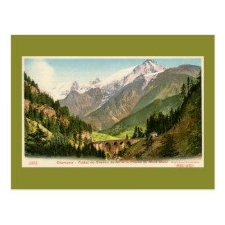 Vintage Chamonix Railroad viaduct Mont Blanc range Postcard