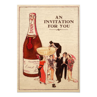 Vintage Champagne Cocktail Party Formal Fun Custom 13 Cm X 18 Cm Invitation Card