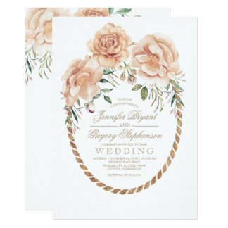 Vintage Champagne Cream and Ivory Floral Wedding Card