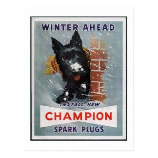 Vintage Champion Spark Plugs Ad Postcard