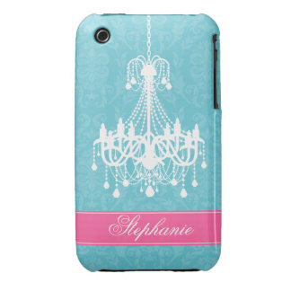 Vintage Chandelier and Damask Pattern iPhone 3 Case