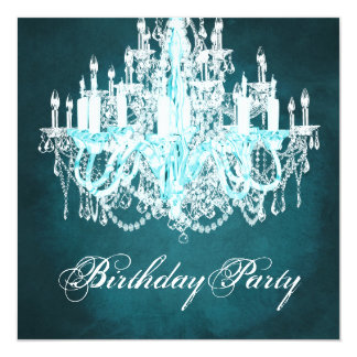 Vintage Chandelier Birthday Party Card