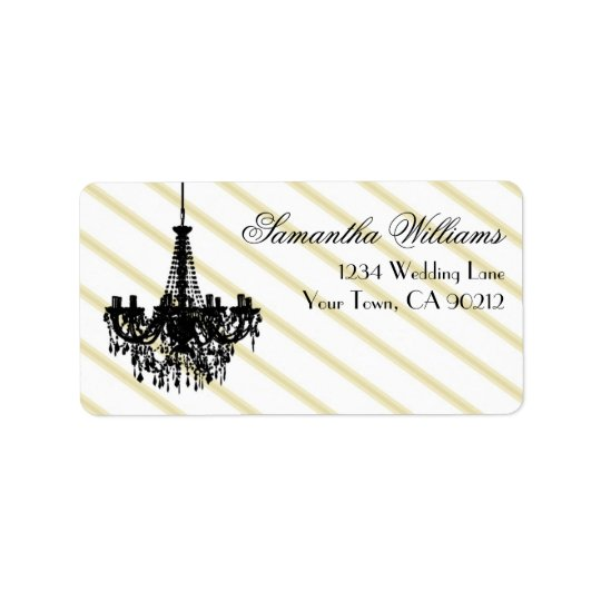 Vintage Chandelier Black and Gold Address Label