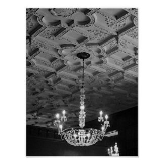 Vintage Chandelier Black And White Photograph Poster