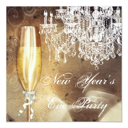 Vintage Chandelier Champagne New Years Eve Party Card