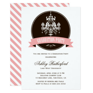 Vintage Chandelier Graduation Party Invitation
