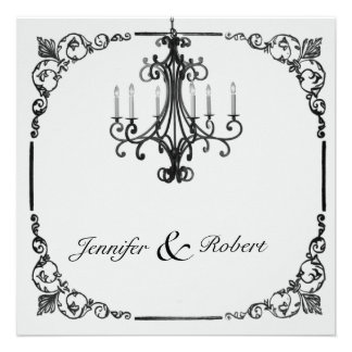 Vintage Chandelier Wedding Invitation