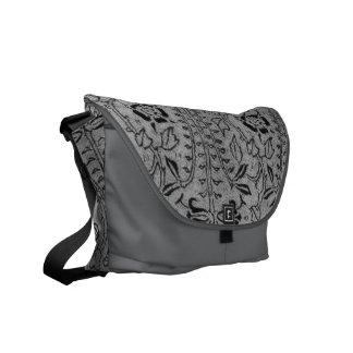 Vintage Charcoal Gray Floral Messenger Bag