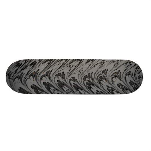 Vintage Charcoal Waves Dark Skateboard