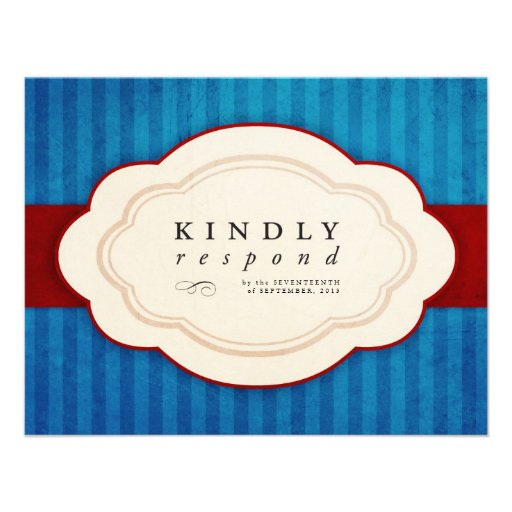 Vintage Charm Blue & Red Response Cards Announcement