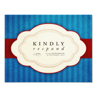 """Vintage Charm Blue & Red Response Cards 4.25"""" X 5.5"""" Invitation Card"""