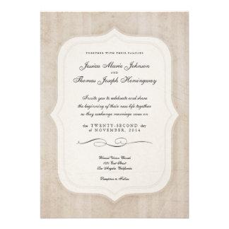 Vintage Charm Cream Monogram Wedding Invitations