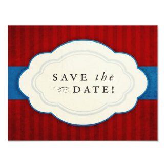 """Vintage Charm Red, White and Blue Save the Dates 4.25"""" X 5.5"""" Invitation Card"""