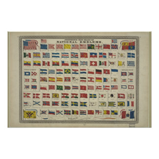 Vintage Chart of National Flags from 1968