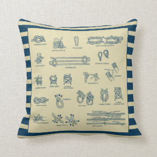 Vintage chart of nautical knots throw pillow