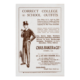 Vintage Chas Baker Clothing Ad from 1920 Poster