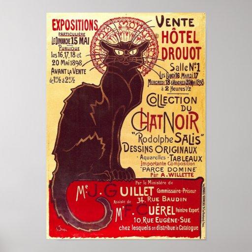 Vintage Chat Noir, Vente Hôtel Drouot Steinlen Print