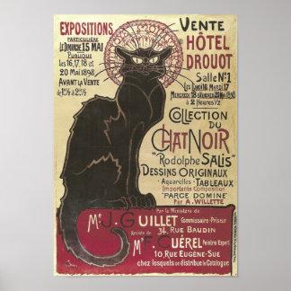 Vintage Chat Noir, Vente Hôtel Drouot Steinlen Poster