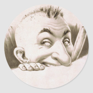 Vintage cheeky man round sticker