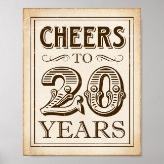 Vintage CHEERS TO 20 YEARS Sign Print