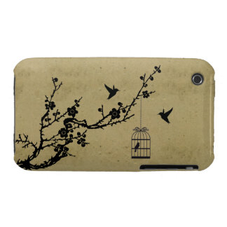 Vintage cherry blossom branch and birds silhouette iPhone 3 Case-Mate case