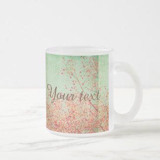 Vintage,cherry blossom,rustic,grunge,trendy,girly, frosted glass mug