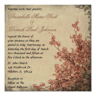Vintage Cherry Blossom Wedding Invitation