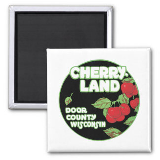 Vintage Cherry Land Wisconsin Square Magnet