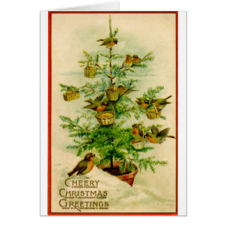 Vintage Cherry Merry Greeting Bird Card