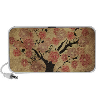 Vintage cherry tree Doodle Portable Speaker