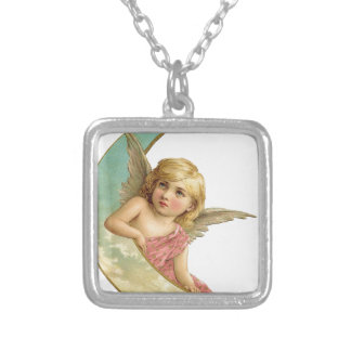 Vintage Cherub and Cresent Moon Silver Plated Necklace