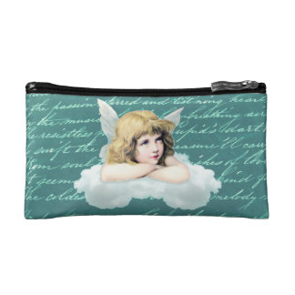 Vintage cherub angel on a cloud cosmetic bag