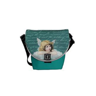 Vintage cherub angel on a cloud messenger bag