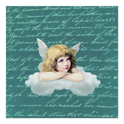Vintage cherub angel on a cloud print