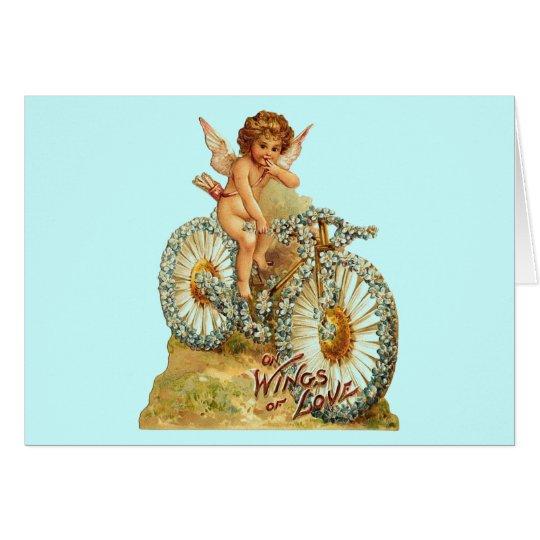 Vintage Cherub Floral Bike Card