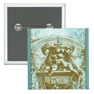 Vintage Cherub Fountain Save the Date Design 15 Cm Square Badge