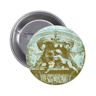 Vintage Cherub Fountain Save the Date Design 6 Cm Round Badge