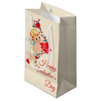 "Vintage Cherub ""Happy Valentine's Day"" Small Gift Bag"