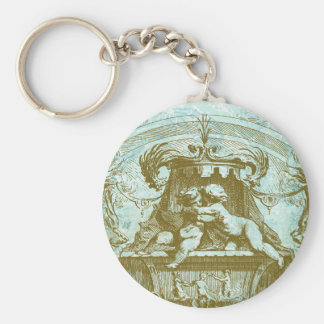 Vintage Cherub Save the Date Design Basic Round Button Key Ring