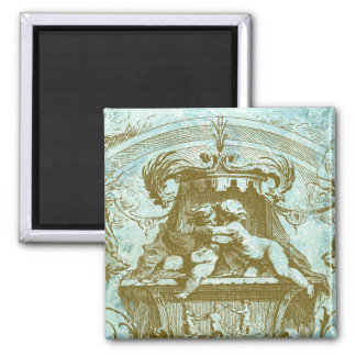 Vintage Cherub Save the Date Design Square Magnet
